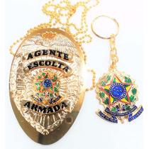 Distintivo Agente Escolta Armada Folheado Á Ouro + Chaveiro