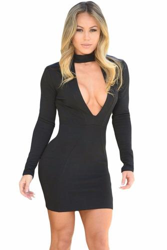 Sexy Mini Vestido Negro Talla L Escote Cierre En La Espalda -   470.00 en  Mercado Libre 404f2bf33209
