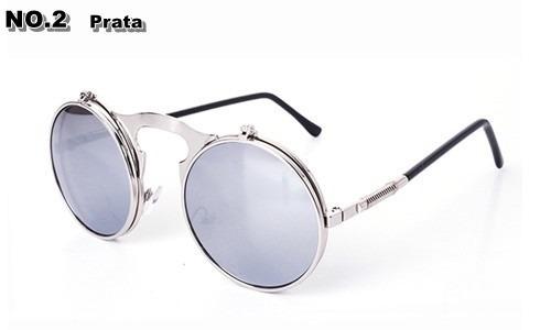 de6ca0b85646a Óculos Duplo Espelhado Redondo De Sol - Prata - Vintage - - R  69