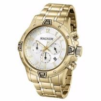 Relógio Masculino Magnum Cronógrafo Ma34405h Dourado Luxo