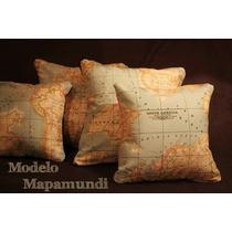 Funda Almohadon Mapamundi Tela Importada . Turismo Viajes