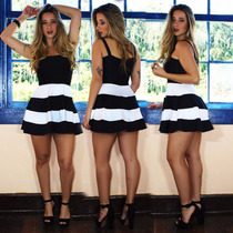 Vestidos Femininos Festa Curto Alça Panicat Rodado 2 Cores