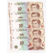 5 Billetes Del Nuevo Diseño De 10 Pesos Sin Circular