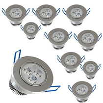 Kit 10x Spot 3w Super Led Branco Morno Aluminio Escovado