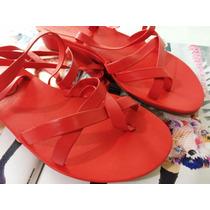 (promoção) Linda Sandalia Arezzo Couro Coral Gloss Tiras