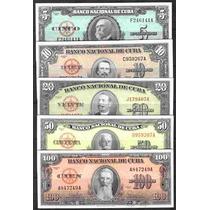 Coleccion De 5 Billetes Del Banco Nac. De Cuba