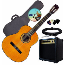 Guitarra Electro Criolla Acustica Ampli Funda Cable Pua