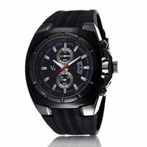 Relogio Masculino Quartzo V6 Esportivo Silicone Black/black