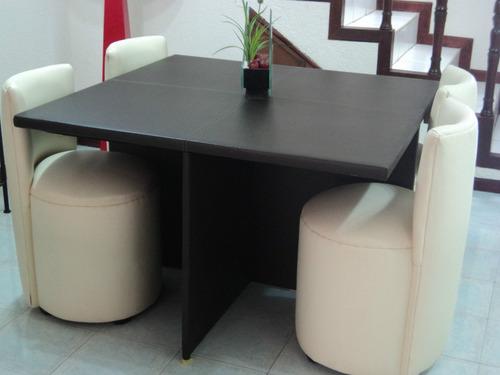 Comedor antecomedor mesa y 4 sillas lounge minimalistas for Mesa comedor disea o