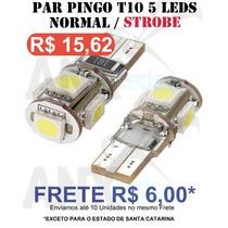 Par Lâmpadas Pingo T10 5 Led Smd 5050 Branco Estrobo Pisca