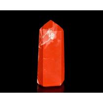Ponta Lapidada De Pedra Jaspe Vermelho Natural / 4cm
