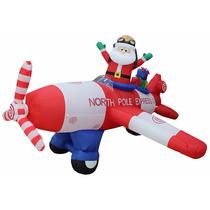Decoracion P/ Navidad Santa Claus Aeroplano Inflable C/ Luz