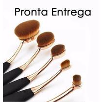 Pincel Escova Oval Kit C/ 5 Dourado Contorno Base Maquiagem
