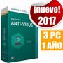 Licencia Kaspersky Antivirus 2017 3 Pc 1 Año Original