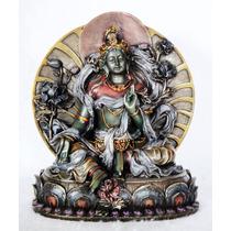 Figura Escultura Buda Tara Blanca Budismo Meditación T Verde