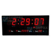 Reloj De Pared Alta Visibilidad Led Rojo Grande - Cfmx