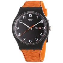 Swatch Faux Fox Negro Dial Plástico De Color Naranja Cuarz