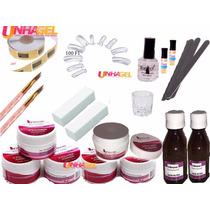 Kit Unhas Acrilica Porcelana + 100 Dual Forms F1 Pincel