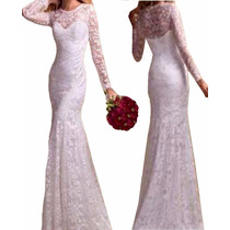 Vestido Longo Renda Manga Noiva Simples Casamento Vrl128 Rio