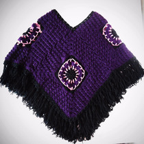 Capa / Poncho Para Mujer Tejido A Mano