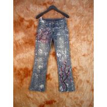 Calça Jeans Lycra 40 Levi Strauss Customizada Boho Chic
