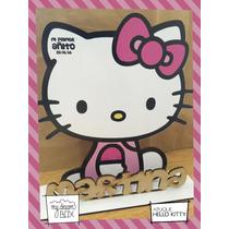 Souvenir Evento Personaliza Aplique Madera 10cm Hello Kitty