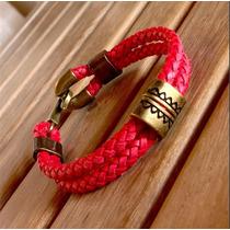 Pulseira Masculina Couro Ouro Velho Bracelete Cardin Design