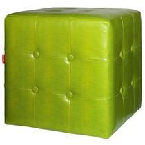 Puff Square Snake Verde Em Pu - Urban - 38x38 Cm