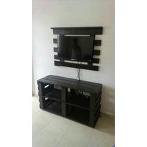 Conjunto Painel Rack Madeira Enfeite Sala Tv Aparador