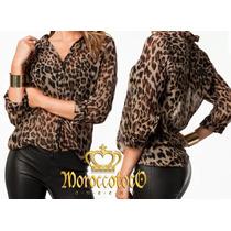 Camisa Mujer Gasa Animal Print Leopard Importada Art.3922