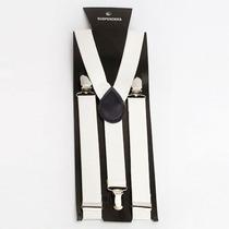 Tirantes Blancos Para Pantalon Con Broches De Metal Modernos