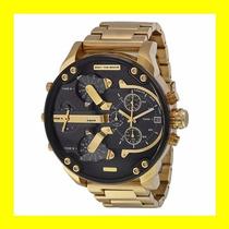 Relógio Diesel Dz7333 Mr. Daddy Dourado Fundo Preto  chief