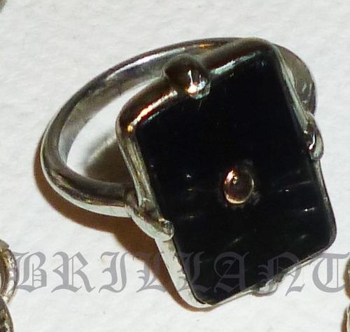 Anillo Fantasìa Antiguo, Plateado, Piedra Negra