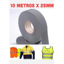 Fita Tecido Refletiva P/ Tecido E Uniformes 10 Mts X 25 Mm
