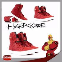 Tênis Bota Hardcore Sneakers Slim Napa Vermelho 3721