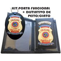 Carteira Couro + Distintivo Detetive Particular Frete Gratis
