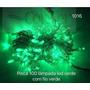 Kit 10 Pisca Verde 100 Lâmpadas Led 8 Funções C/ Fio Verde