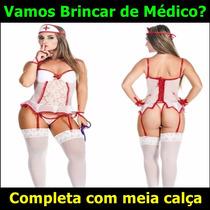 Espartilho Lingerie Fantasia Médica Enfermeira Sensual Sexy