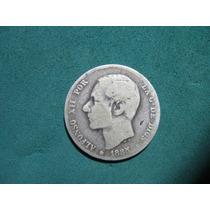 Moneda 1 Una Peseta 1885, España Km# 686 De Plata