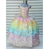 Vestido Barbie Arcoiris Elsa Frozen Bella Cenicienta Anna
