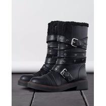 Botas Negras Casuales Planas Hebillas Bershka Zara #25.5