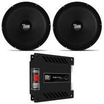 Amplificador Banda Ice 1200w + 2 Woofer Thor 12 600w Rms Par