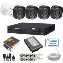 Kit Cftv 4 Camera Hdcvi Dvr 4 Canais Intelbras 1004 Hd 500gb
