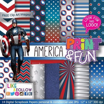 23 Itens Kit Digital Editavel Scrapbook Capitao America Arte