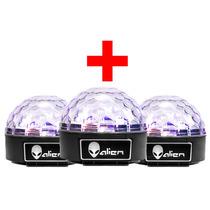 Paquete 3 Luz Bola Disco Led Rgb Dj Sonido Esfera Cristal