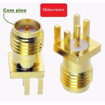 Conector Wireless Pcb Rp-sma Fêmea Para Soldar