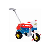 Triciclo E Carrinho De Passeio 2 Em 1 Bichos Magic Toys Azul
