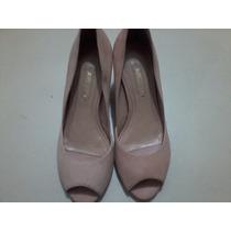 Sapato Feminino (arezzo) Semi Aberto Em Couro Camurçado 35