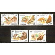 Cambogia Dinosaurios Animales Prehistórico 5 Sellos