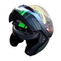 Casco Abatible Mt Helmets Optimus Negro Verde